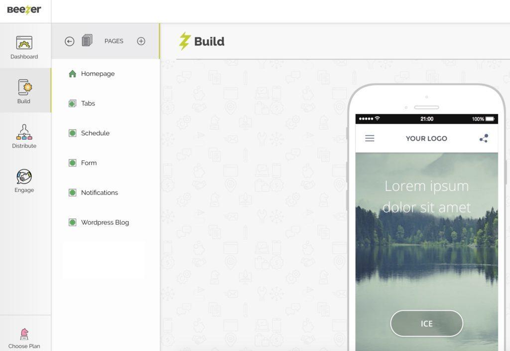 Example of Beezer app builder